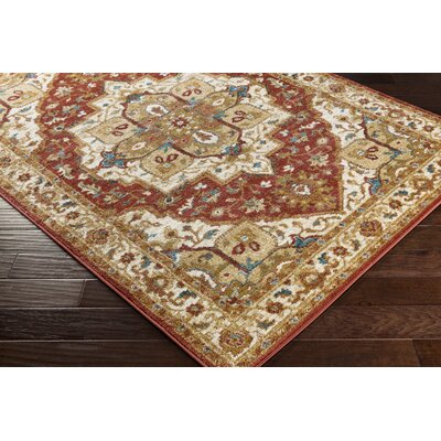 Nicea Rufus Crimson Red/Teal Area Rug Rug Size: 2 x 3