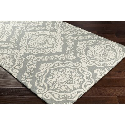 Ebling Hand-Tufted Gray/Ivory Area Rug Rug Size: Rectangle 76 x 96