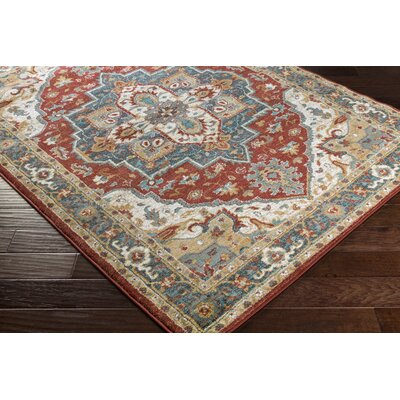 Nicea Rufus Red/Teal Area Rug Rug Size: 67 x 96