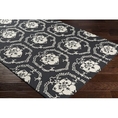 Ebert Hand-Tufted Onyx Black/Ivory Area Rug Rug Size: Rectangle 76 x 96