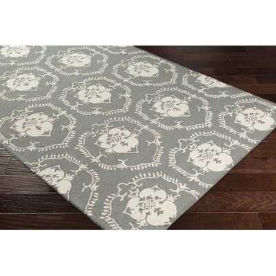 Ebert Hand-Tufted Gray/Ivory Area Rug Rug Size: Rectangle 76 x 96