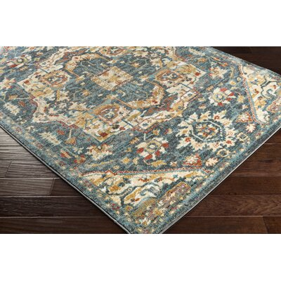 Eaglin Teal/Charcoal Area Rug Rug Size: Rectangle 67 x 96