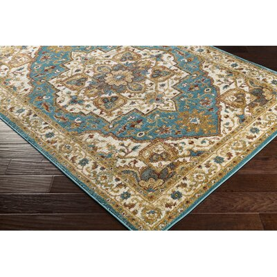 Piccirillo Teal/Metallic-gold Area Rug Rug Size: Rectangle 67 x 96