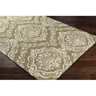 Ebling Hand-Tufted Olive Green/Beige Area Rug Rug Size: Rectangle 5 x 76