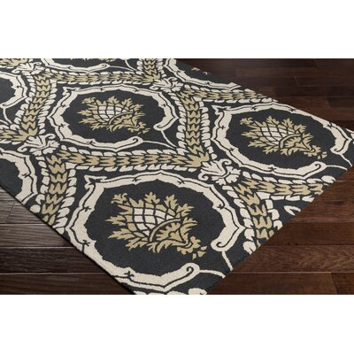Ebersole Hand-Tufted Onyx Black/Gold Area Rug Rug Size: Runner 26 x 8