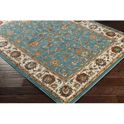 Eady Teal/Gold Area Rug Rug Size: Rectangle 53 x 73