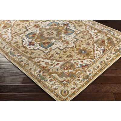 Piccirillo Tan/Teal Area Rug Rug Size: Rectangle 53 x 73