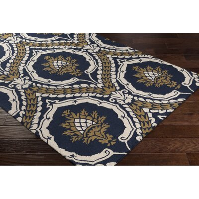 Ebersole Hand-Tufted Navy Blue/Gold Area Rug Rug Size: Rectangle 76 x 96