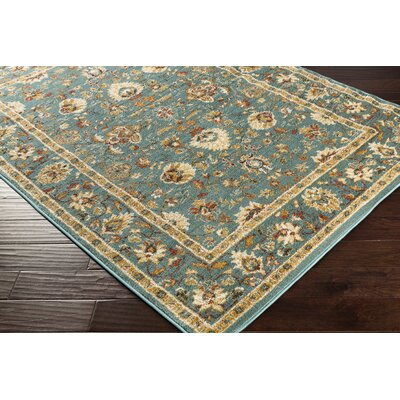 Eadie Teal/Gold Area Rug Rug Size: Rectangle 53 x 73