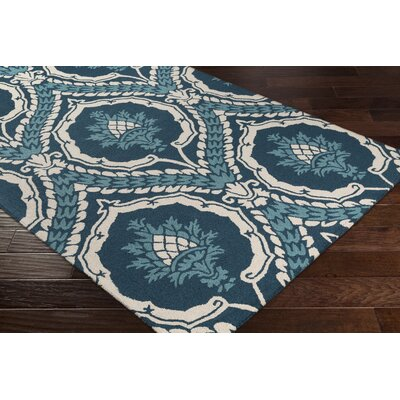 Ebersole Hand-Tufted Teal/Ivory Area Rug Rug Size: Rectangle 76 x 96