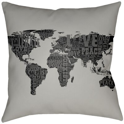Bloss Global Indoor/Outdoor Throw Pillow Size: 20 H x 20 W, Color: Gray/Onyx Black