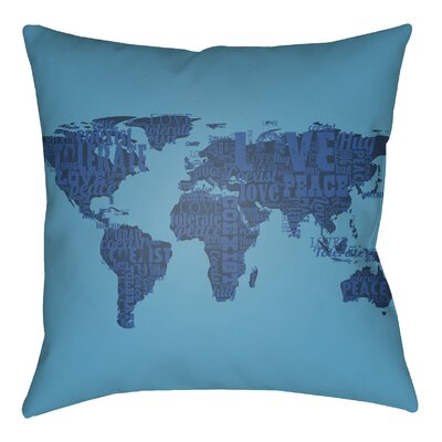 Litchfield Global Indoor/Outdoor Throw Pillow Size: 26 H x 26 W, Color: Light Blue/Charcoal
