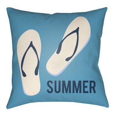 Litchfield Summer Indoor/Outdoor Throw Pillow Size: 16 H x 16 W, Color: Aqua/Navy Blue