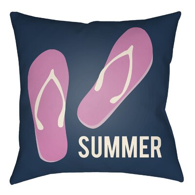 Courtois Summer Indoor/Outdoor Throw Pillow Size: 20 H x 20 W, Color: Navy Blue/Fuchsia