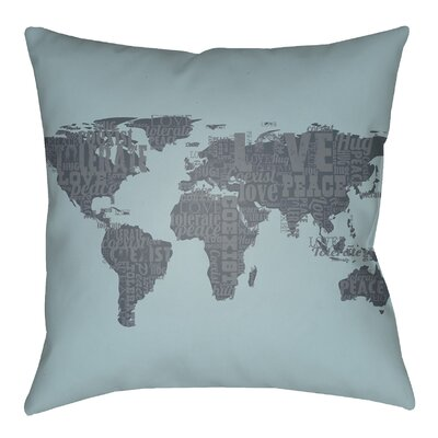 Litchfield Global Indoor/Outdoor Throw Pillow Color: Light Blue/Charcoal, Size: 20 H x 20 W