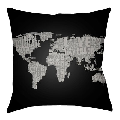 Litchfield Global Indoor/Outdoor Throw Pillow Size: 20 H x 20 W, Color: Onyx Black/Charcoal
