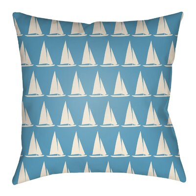 Litchfield Sumter Indoor/Outdoor Throw Pillow Size: 18 H x 18 W, Color: Aqua/Ivory
