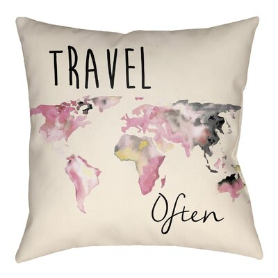 Bloomer Outdoor Throw Pillow Size: 20 H x 20 W, Color: Carnation Pink/White