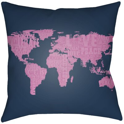 Bloss Global Indoor/Outdoor Throw Pillow Size: 20 H x 20 W, Color: Fuchsia/Navy Blue