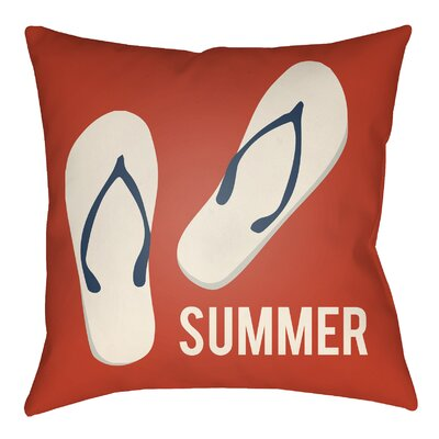 Litchfield Summer Indoor/Outdoor Throw Pillow Size: 20 H x 20 W, Color: Poppy Red/Ivory