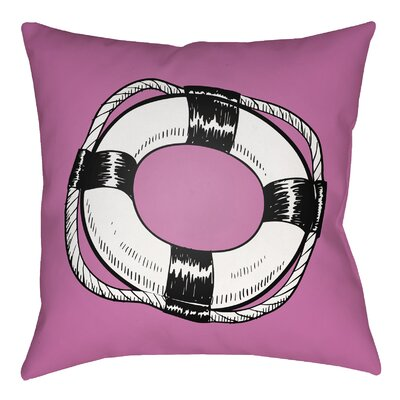 Litchfield Life Saver Indoor/Outdoor Throw Pillow Size: 18 H x 18 W, Color: Poppy Red/Navy Blue