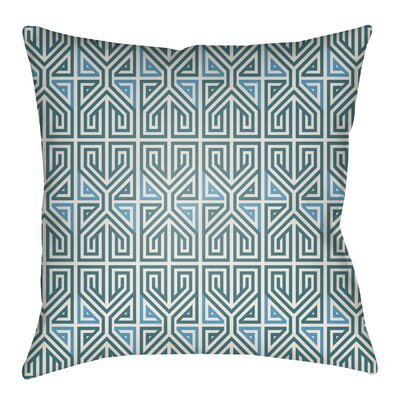 Mullikin Indoor/Outdoor Throw Pillow Size: 22 H x 22 W, Color: Teal/Aqua