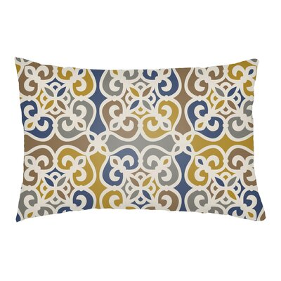 Alvey Indoor/Outdoor Lumbar Pillow Color: Denim Blue/Gold