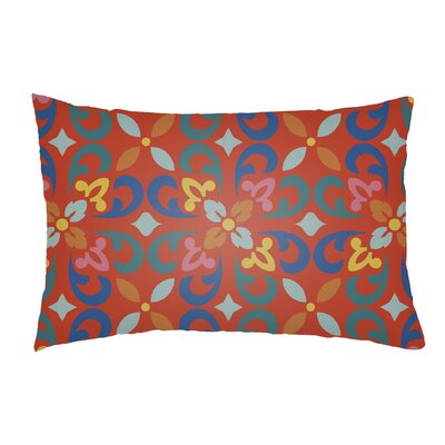 Dillion Indoor/Outdoor Lumbar Pillow Color: Poppy Red/Teal