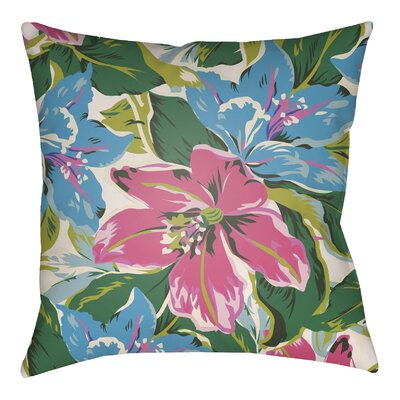 Lolita Zinnia Indoor/Outdoor Throw Pillow Color: Fuchsia/Aqua, Size: 18 H x 18 W