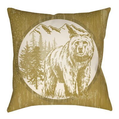 Lodge Cabin Bear Throw Pillow Size: 20 H x 20 W, Color: Mustard/Beige