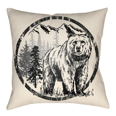 Lodge Cabin Bear Throw Pillow Size: 20 H x 20 W, Color: Onyx Black/Beige