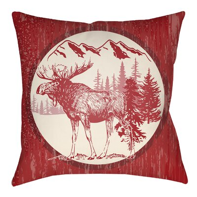 Lodge Cabin Moose Indoor/Outdoor Throw Pillow Size: 18 H x 18 W, Color: Crimson Red/Beige
