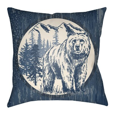 Lodge Cabin Bear Throw Pillow Size: 20 H x 20 W, Color: Navy Blue/Beige