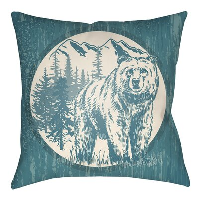 Lodge Cabin Bear Throw Pillow Size: 20 H x 20 W, Color: Teal/Beige