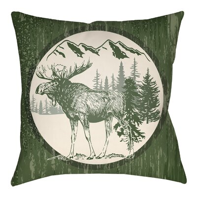 Lodge Cabin Moose Indoor/Outdoor Throw Pillow Size: 20 H x 20 W, Color: Forest Green/Beige