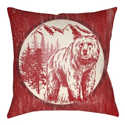 Lodge Cabin Bear Throw Pillow Size: 18 H x 18 W, Color: Crimson Red/Beige