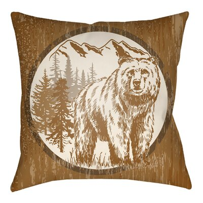 Lodge Cabin Bear Throw Pillow Size: 20 H x 20 W, Color: Tan/Beige