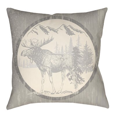 Lodge Cabin Moose Indoor/Outdoor Throw Pillow Size: 20 H x 20 W, Color: Light Gray/Beige