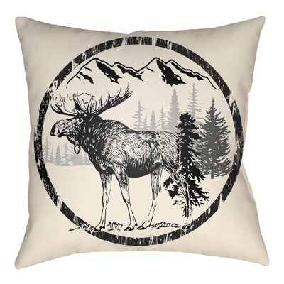 Lodge Cabin Moose Indoor/Outdoor Throw Pillow Size: 20 H x 20 W, Color: Onyx Black/Beige