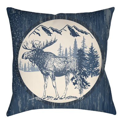Lodge Cabin Moose Indoor/Outdoor Throw Pillow Size: 20 H x 20 W, Color: Navy Blue/Beige