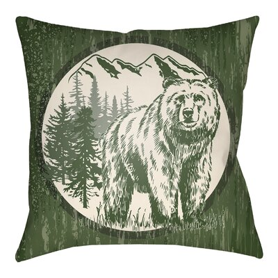 Lodge Cabin Bear Throw Pillow Size: 20 H x 20 W, Color: Forest Green/Beige