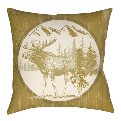 Pittard Moose Indoor/Outdoor Throw Pillow Size: 20 H x 20 W, Color: Mustard/Beige