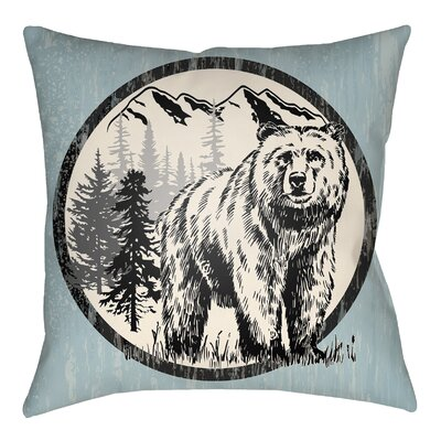 Lodge Cabin Bear Throw Pillow Color: Light Blue/Beige, Size: 20 H x 20 W