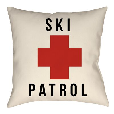 Lodge Cabin Ski Patrol Indoor/Outdoor Throw Pillow Size: 26 H x 26 W