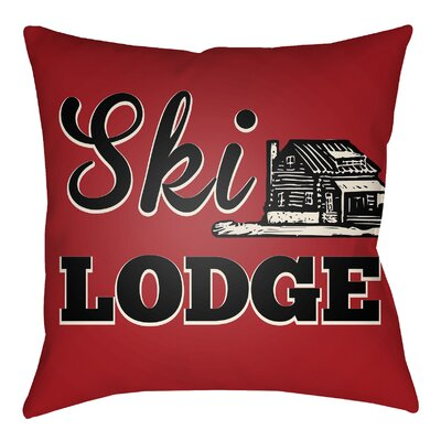 Lodge Cabin Ski Lodge Indoor/Outdoor Throw Pillow Size: 18 H x 18 W, Color: Crimson Red