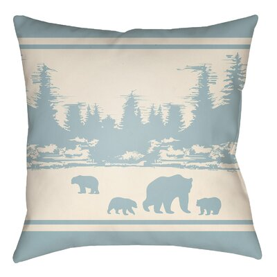 Lodge Cabin Woodland Indoor/Outdoor Throw Pillow Size: 20 H x 20 W, Color: Light Blue/Beige