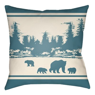 Lodge Cabin Woodland Indoor/Outdoor Throw Pillow Size: 20 H x 20 W, Color: Teal/Beige