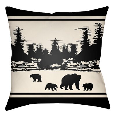 Lodge Cabin Woodland Indoor/Outdoor Throw Pillow Size: 20 H x 20 W, Color: Onyx Black/Beige