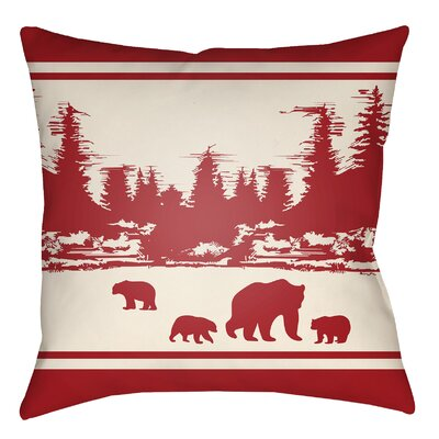 Lodge Cabin Woodland Indoor/Outdoor Throw Pillow Size: 16 H x 16 W, Color: Crimson Red/Beige