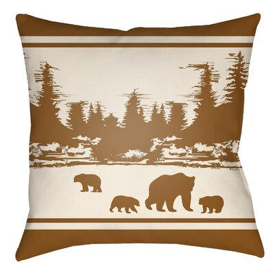 Lodge Cabin Woodland Indoor/Outdoor Throw Pillow Size: 20 H x 20 W, Color: Tan/Beige